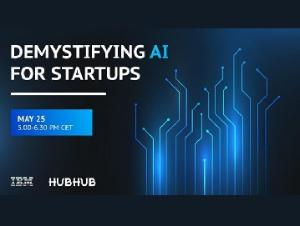 Granatowy baner przedstawia napis Demystifying AI For Startups May 25 5.00-6.30 PM CET